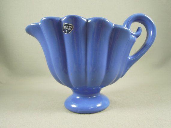 Camark Shell Vase Blue Fan Style Vintage By Findvintagepieces 75 00 Camark Pottery