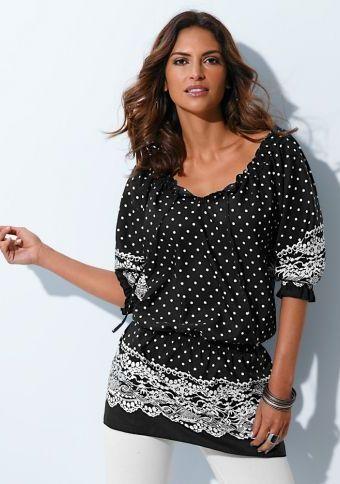 Halenková tunika s puntíky a krajkou #ModinoCZ #blouse #trendy #printed #stylish #bluza #tunika #moda #vzor