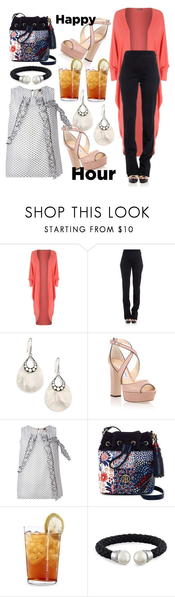 """""""Happy Hour"""" by lustydame ❤ liked on Polyvore featuring WearAll, Pinko, John Hardy, Jimmy Choo, I'm Isola Marras, Tommy Hilfiger, Schott Zwiesel and Majorica"""