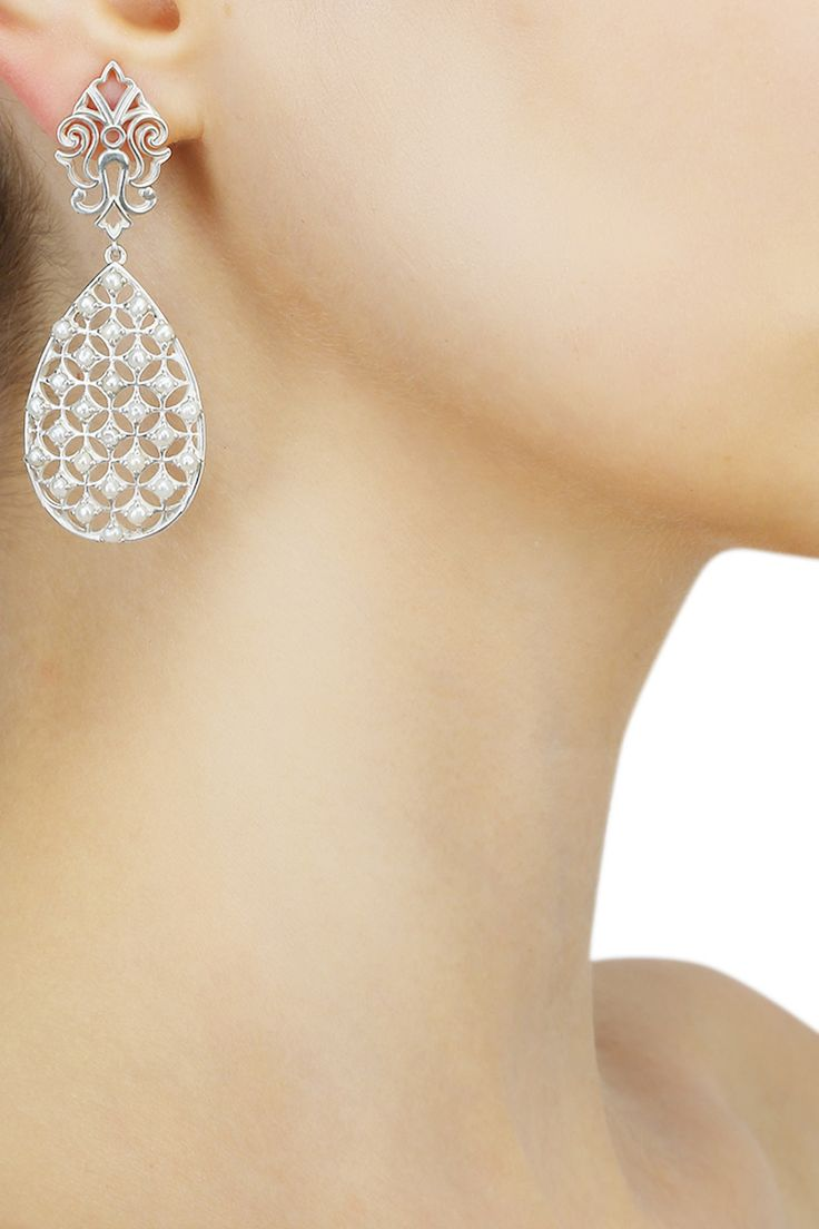 Silver finish seed pearls jali pattern earrings available only at Pernia's Pop Up Shop.