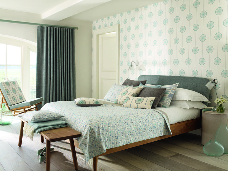 Sanderson | Fabric 'Tambourine' | Bedroom design | Walcot House wrapped and tracked 50mm curtain pole