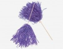 24 Purple Cheerleader Pom-Poms on Wooden Sticks
