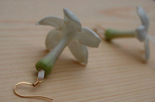 Flowers to Wear: stephanotis earrings,  The Monkey Flower Group