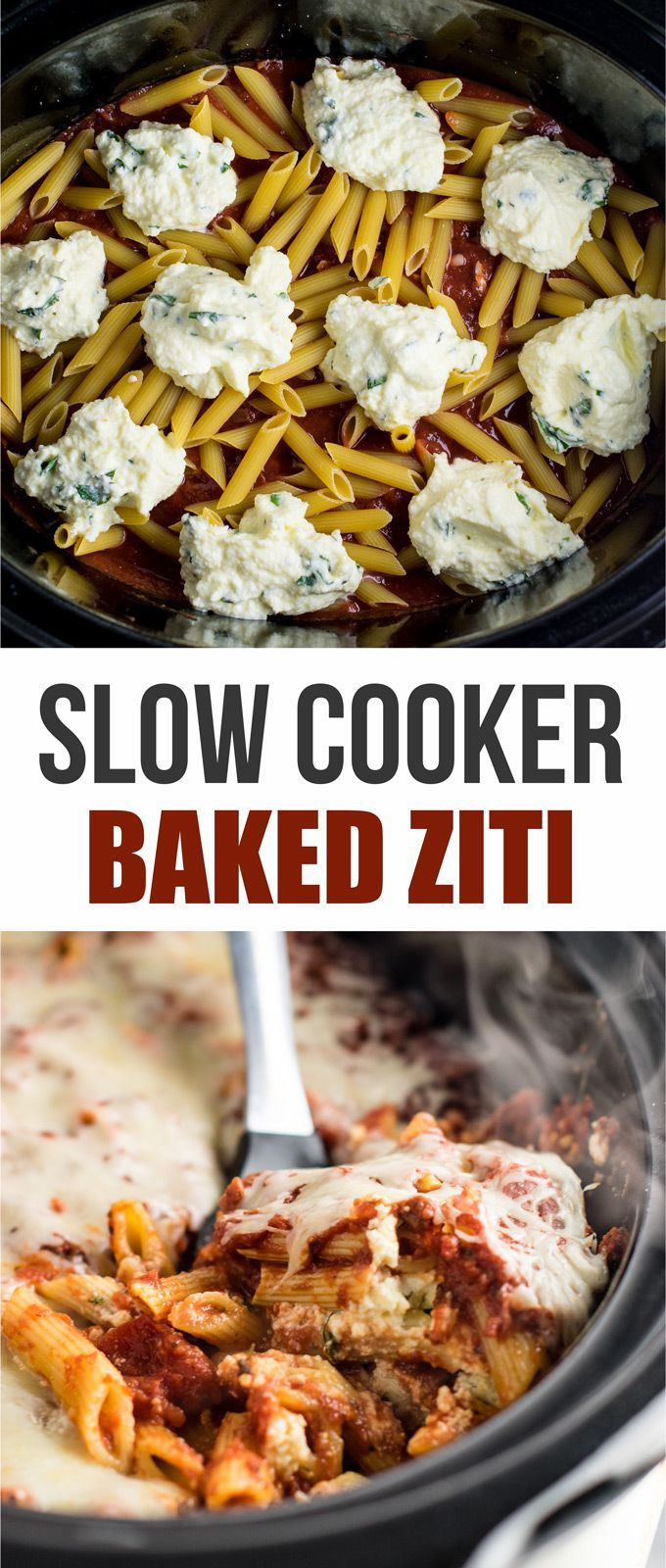 Easy and incredible Crock Pot Baked Ziti recipe! Everyone goes crazy for this! #…