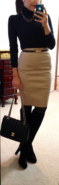 black turtleneck, belt, beige skirt. Except I hate turtlenecks