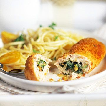 Chicken with Mozzarella 6 skinless, boneless chicken breast halves (1 1/2 pounds) 1/4 cup finely chopped shallots or onions  1 clove garlic, minced  2 teaspoons olive oil  1/2 10 - ounce package frozen chopped spinach, thawed and well drained  3 tablespoons pine nuts or walnuts, toasted  3/4 cup shredded smoked mozzarella cheese (3 ounces)  1/4 cup seasoned fine dry bread crumbs  1/4 cup grated Parmesan cheese  1 tablespoon olive oil