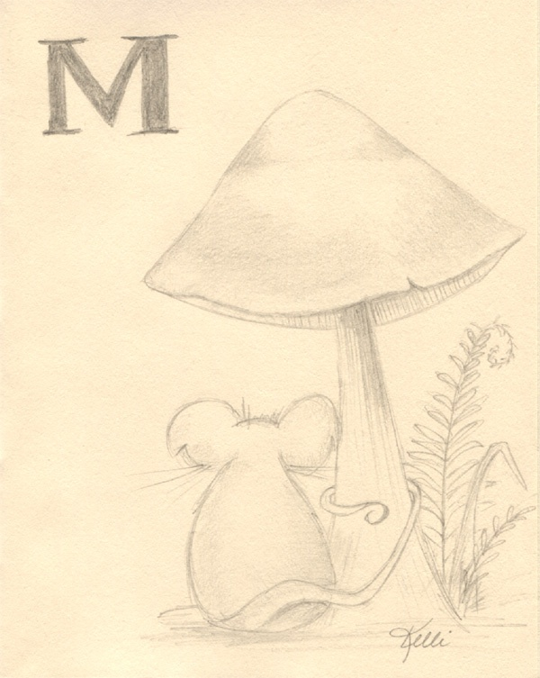 Mouse, mushroom and the letter M