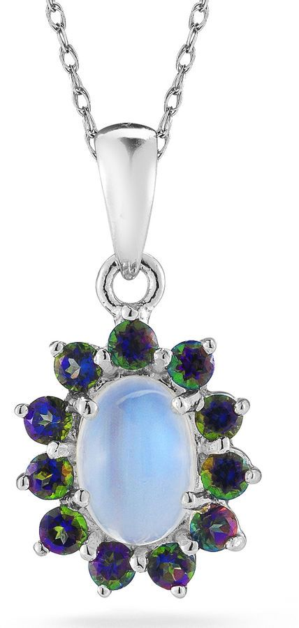 JCPenney FINE JEWELRY Opal & Mystic Fire Topaz Sterling Silver Pendant Necklace