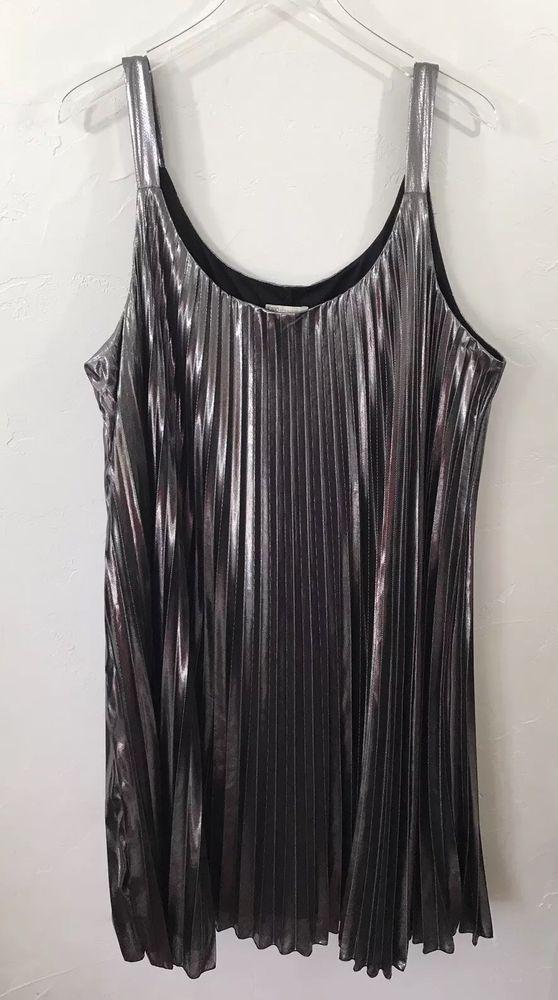 1cc76050391 Cato Women's London Call Silver Accordion Pleated Metallic Dress Plus Size  22 24   eBay
