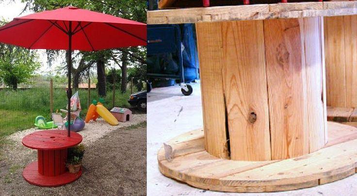 17 meilleures id es propos de bobine de bois sur pinterest tables tiroir tables de bobine - Bobine fil electrique ...