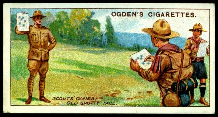 """#71 """"Scouts Games"""" Old Spotty Face - Ogden's Cigarettes """"Boy Scouts"""" (2nd series of 50 issued in 1912)"""