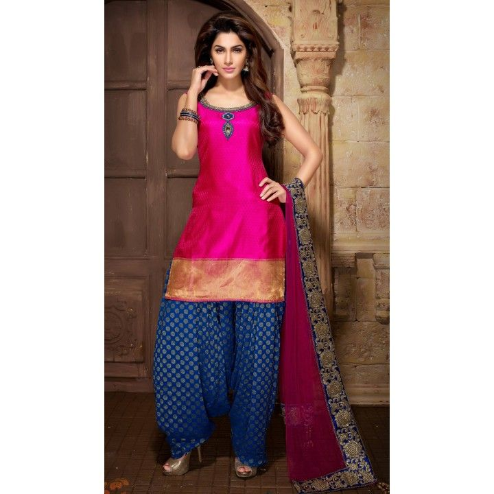 Magenta Patiala Suit In Art Silk with Border Patch Work GF0756, Shop online now