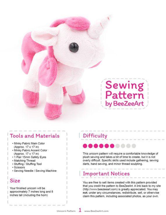 44eedcadb0d Unicorn Plush Sewing Pattern