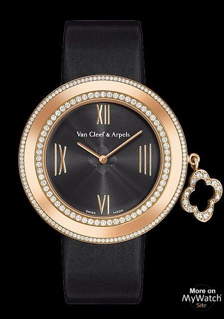 Van Cleef & -Arpels-Charms collection- Pink Gold - Diamonds - Black Satin -38mm-2009 €19.600.