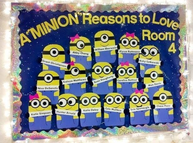 Minion Bulletin board! Love this idea. the teacher made hers and laminated them, but I love the idea of the kiddos making them on the first day of school and share why they're one in a minion...  PICTURE ONLY!