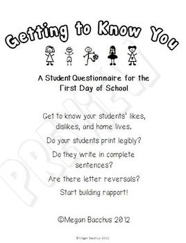 Getting to Know You - Student Questionnaire for the First Day of School