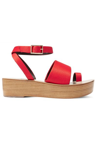 Tibi - Janie Satin Platform Sandals - Crimson - IT40.5