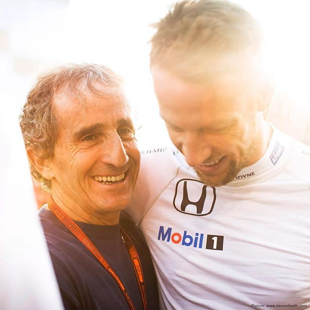 World Champion moment. JB and his hero Alain Prost catch up before yesterday's #AbuDhabiGP. Photo: @darrenheathphotographer