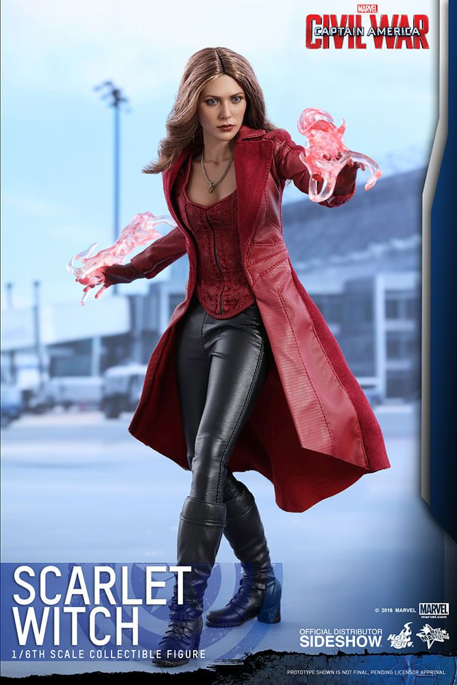 The Scarlet Witch Sixth Scale Figure is available at Sideshow.com for fans of Marvel's Captain America: Civil War, Elizabeth Olsen and Team Cap.