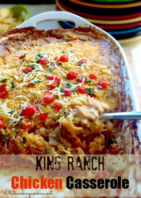 King Ranch Chicken Casserole & History - Texas Comfort Food!  |  whatscookingamerica.net  #king #ranch #chicken #enchilada #cheese #casserole