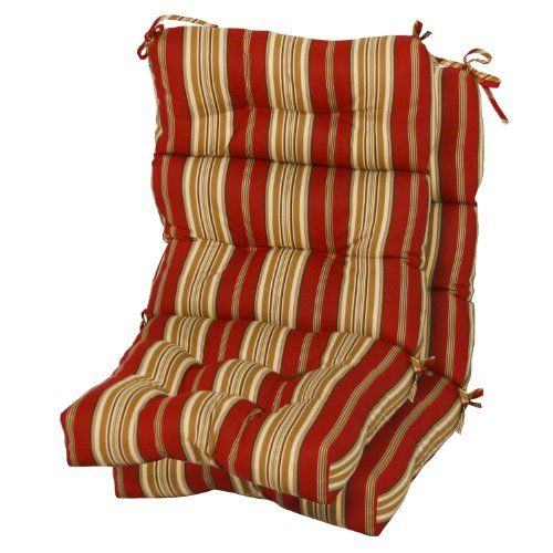 Greendale Home Fashions Indoor/Outdoor High Back Chair Cushions, Roma  Stripe, Set Of