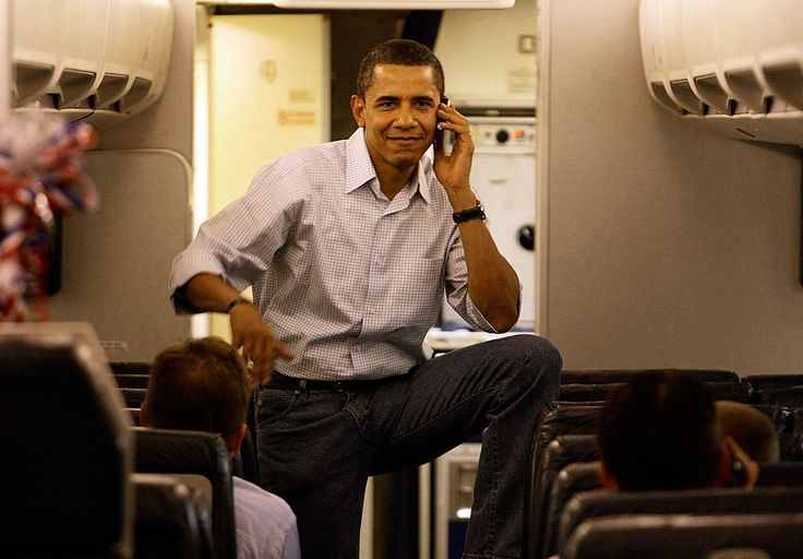 #SenatorDays   #44thPresident #BarackObama  Democratic presidential hopeful Sen. Barack Obama talked on his cell phone as he boards his campaign plane at Midway Airport en-route to Washington DC, May 7, 2008 in Chicago, Illinois   #Obama44 #ObamaLegacy #ObamaHistory #ObamaLibrary #ObamaFoundation Obama.org