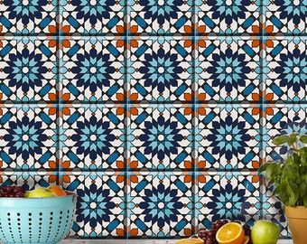 Tile/wall decal : Indian Blue pottery diamond design by Bleucoin