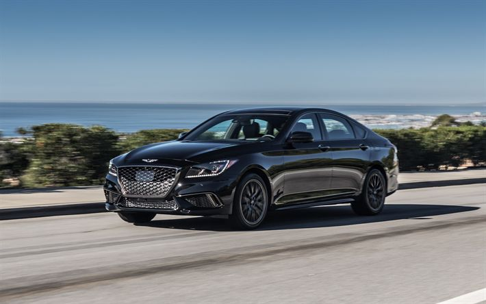 Download wallpapers Genesis G80 Sport, 2018, 4k, black luxury sedan, black new G80, Genesis