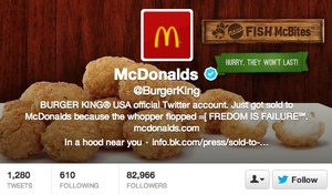 Burger King Twitter Hacked Into McDonald's Feb/13