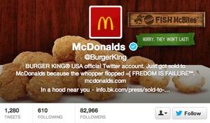 Burger King Twitter Hacked Into McDonald's Feb/13