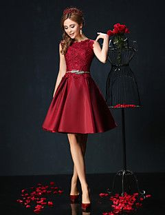 Cocktail Party Dress Ball Gown Jewel Short / Mini Lace / Charmeuse with Lace / Sash / Ribbon – USD $ 225.00