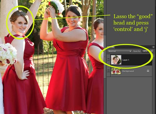 Use Lasso tool to select head to copy in PSE