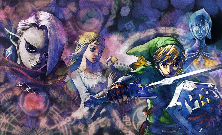 The Legend of Zelda: Skyward Sword, Game Informer Artwork | Link, Zelda, Fi, and Ghirahim