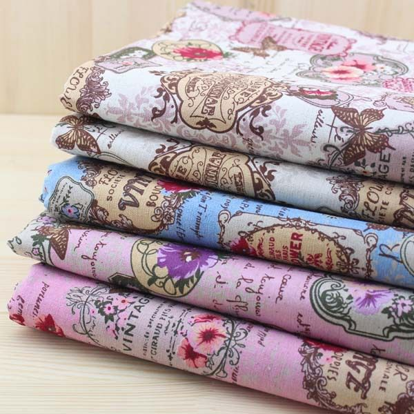"""Free Shipping! 5piece Charming Flower Tags Vintage Linen Cotton Patchwork Fabric   70cm x 50cm/ 27.6"""" x 19.7"""" from Reliable patchwork fabric suppliers on Nana Fabrics $31.40"""