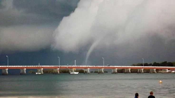 One of three water spouts travelling up the Bribie Island passage, 6th April 2014. The beauty and forces of nature in Australia