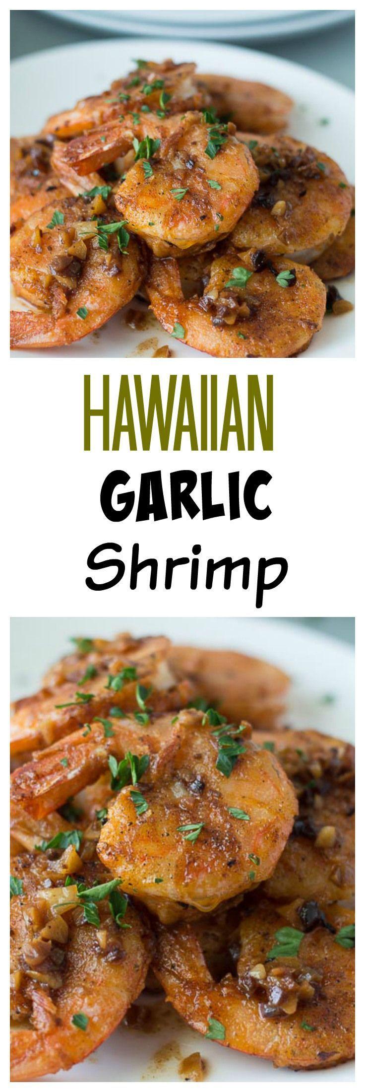 Hawaiian Garlic Shrimp Recipe.  This recipe is similar to the Hawaii Shrimp Truck Garlic Shrimp Plates you can get in Paradise!