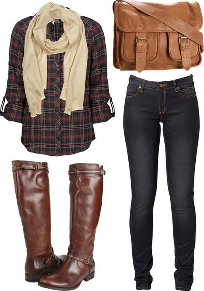 SANS BOOTS: plaid shirt (Dean's), skinny jeans, brown satchel and cream scarf