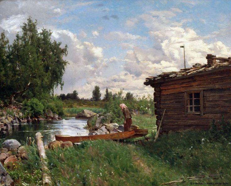Hjalmar Munsterhjelm (1840-1905) Virran rannalla / Bank of the river 1870 - Finland