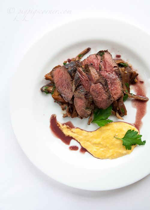 "Grilled Kangaroo with Balsamic Mushrooms and Creamed Corn. ""The texture of the meat is like beef but the flavour is totally different and has a very mild game taste. Since the flavour is so subtle, I wouldn't suggest using strong marinades, not unless you want to mask the gamey flavor""."