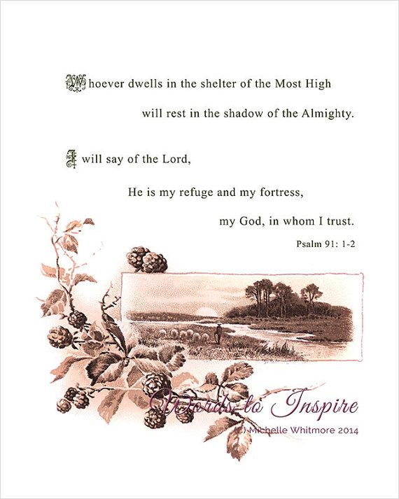Rest in the shadow of the Almighty (Psalm 91: 1-2). Bible Scripture Illustration by Words2Inspire, £15.00