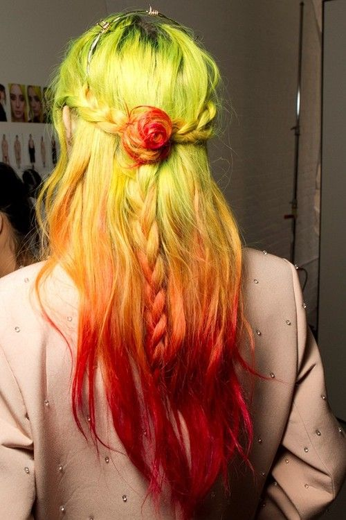 Neon fire hair with a braided rose twist.