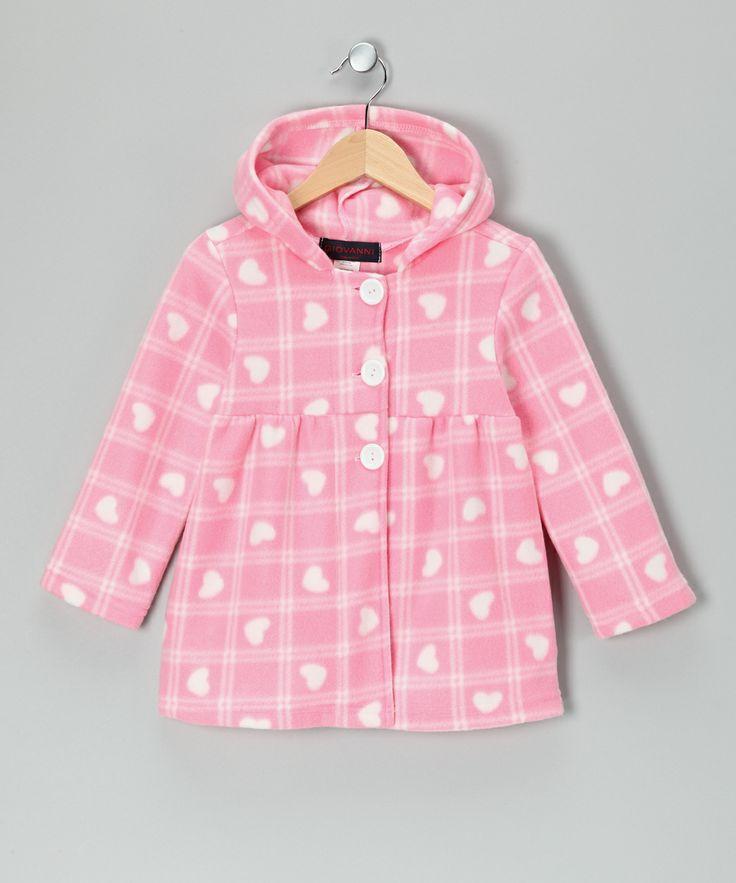 Pink Plaid Heart Polar Fleece Jacket