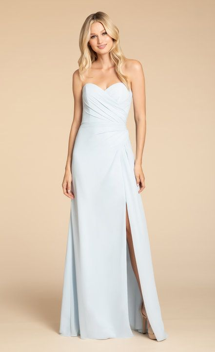 ff2c8711d7a7 Style 5913 Hayley Paige Occasions bridesmaids gown | Oasis chiffon A-line  gown, strapless sweetheart neckline, draped bodice and skirt, front slit.