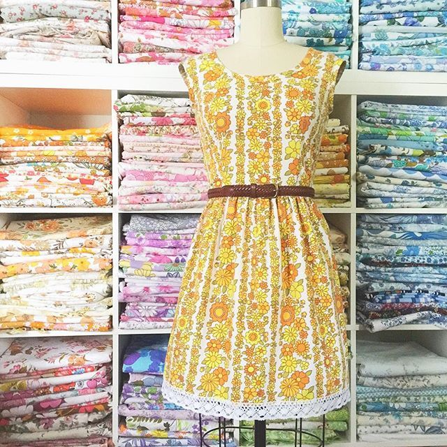 SUNSHINE HAPPY  Ack! This fabric is adorable!! I have two of these self capped-sleeve pretties looking for new homes. Yay x #teadress #sunshine #yellow #gertrudemade