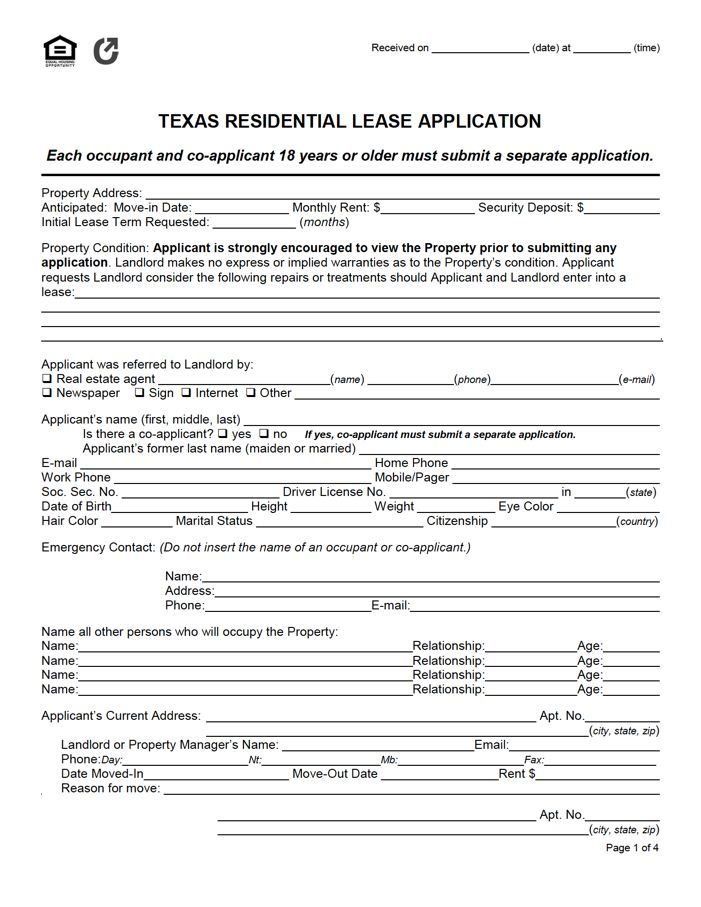 Texas Residential Lease Application Rental Application Application Lease