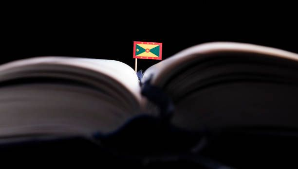 grenada flag in the middle of the book knowledge and education
