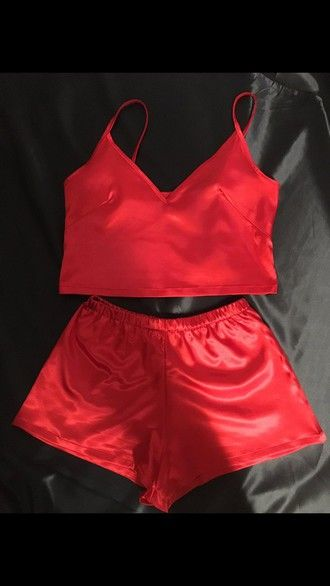 pajamas red two-piece shorts underwear silk lingerie lingerie set silk pajamas silk shorts silk top red pajamas tank top sexy sleepwear silk sleepwear short victoria's secret top