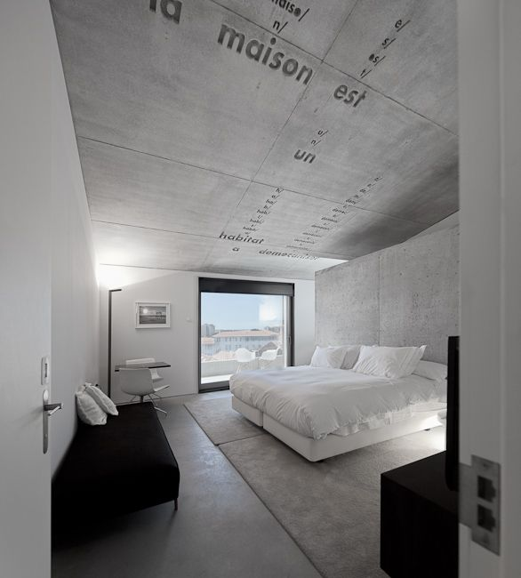 Casa do Conto, Portugal // stunning atmospheric space using the drama of black, white and grey - like a stormy night #bedroom #blackwhiteandgrey