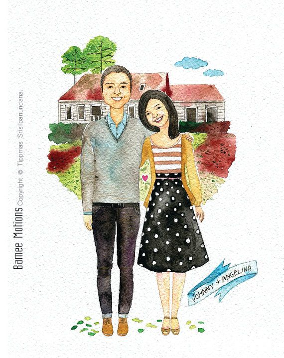 An original watercolor couple portrait , custom couple portrait, custom portrait with nice background, custom illustration.