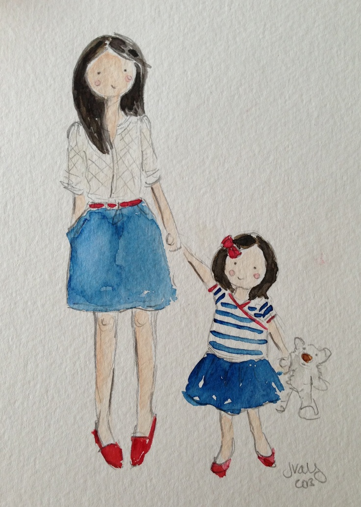 #PANDORAloves ... this watercolor painting of a mom and daughter in matching outfits by Jennifer Vallez #mom